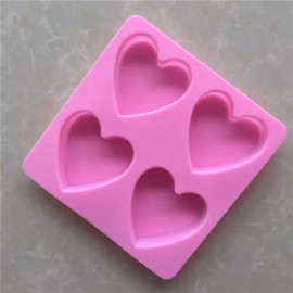 Heart shaped Soap  mold silicone 4 Cavities