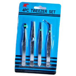 4 Piece Tweezers Set