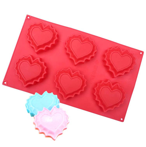 Heart Shape Molds for Desserts & Soap Making 6 Cavity