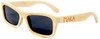 Whitehaven Rectangular Polarized Natural Bamboo Wooden Frame Sunglasses Side