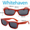 Whitehaven Rectangular Red Rosewood Wood Sunglasses Dimensions Size