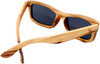 Whitehaven Rectangular Polarized Zebrawood Frame Sunglasses Back