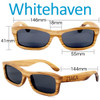 Whitehaven Rectangular Zebrawood Wood Sunglasses Dimensions Size