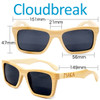 Cloudbreak Square Natural Bamboo Wood Sunglasses Dimensions Size