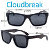 Cloudbreak Square Ebony Wood Sunglasses Dimensions Size
