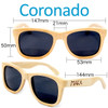Coronado Wayfarer Natural Bamboo Wood Sunglasses Dimensions Size