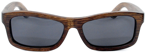 Whitehaven Rectangular Polarized Brown Bamboo Wood Frame Sunglasses Straight