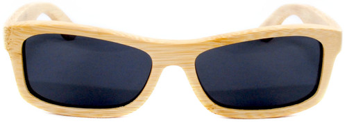 Whitehaven Rectangular Polarized Natural Bamboo Wooden Frame Sunglasses Straight