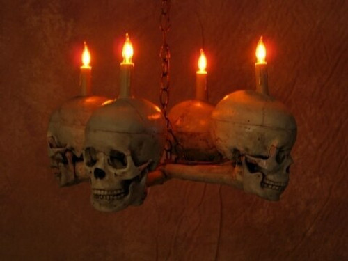 CROSS BONE CHANDELIER WITH FOUR SKULLS