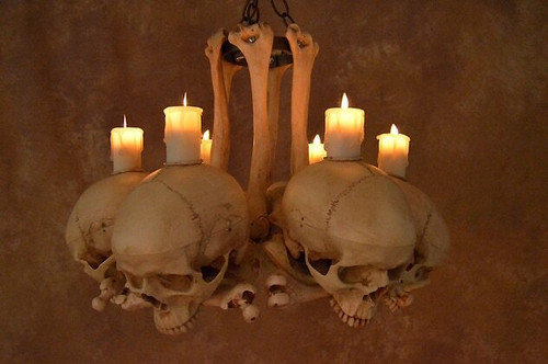 Chandelier Skull/Hip Bones. 6 Skulls On Bone Frame