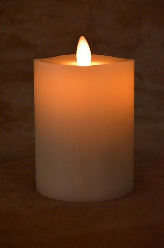 "Flameless Pillar Candle, 3"" x 4"", Ivory"