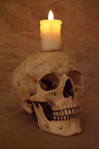 Skull With Flameless Candle