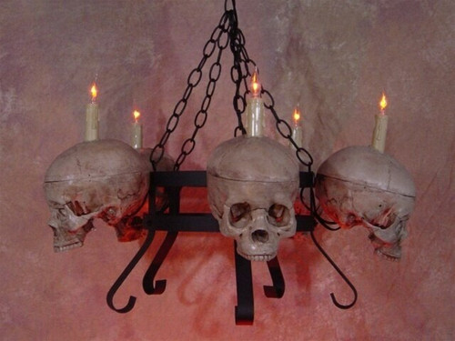 Life-Size Skull/Metal Chandelier W/ Five Skulls No Jaws