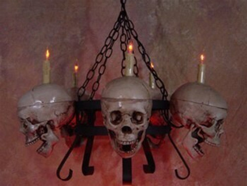 Life-Size Skull/Metal Chandelier W/ Five Skulls And Jaws2 Week Delivery