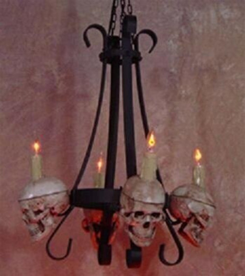 Metal Chandelier With Four Small Skulls