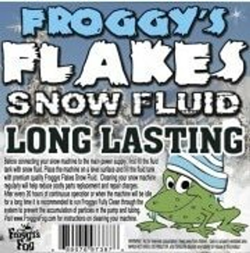 Long Lasting Snow Juice Machine Fluid - Froggys Flakes (75 Foot Plus Float / Drop) Slow Evaporation Formula