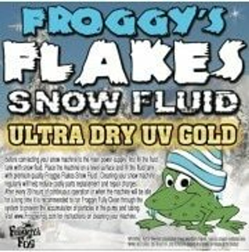Gold Uv Blacklight Reactive Snow Juice Machine Fluid - Froggys Flakes - Evaporative Formula