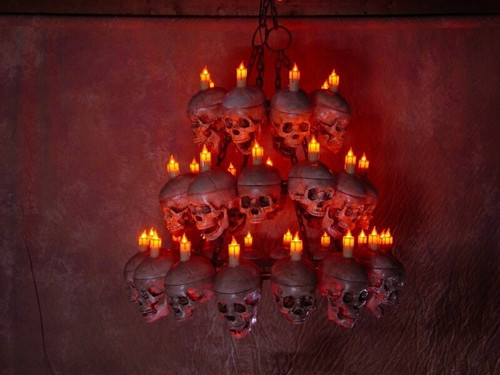 Three Tiered Life Size Skull Chandelier With 35 Skulls