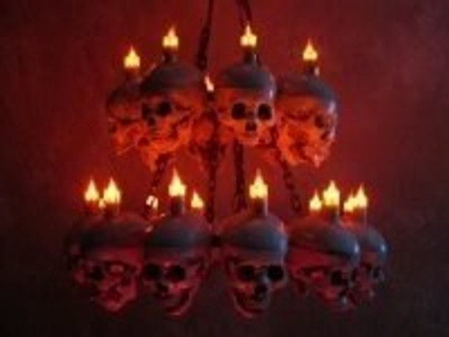 Two Tiered Life-Size Skull Chandelier With 20 Skulls