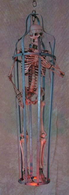 Iron Skeleton Cage With Life-Size Aged Skeleton, Life-Size 5 Foot 6 Inches