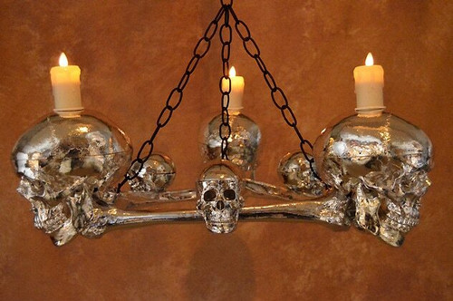 Life-Size Chromed Skull/Femur Bone Chandelier With Three Skulls