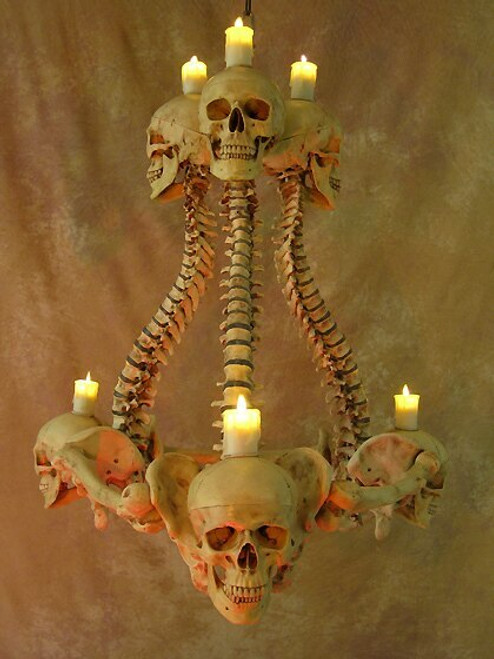 Skull/Spine Chandelier W/ Flameless Candles