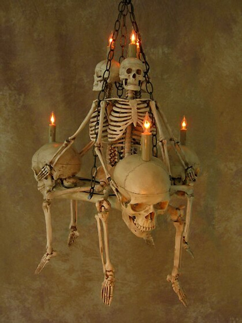 Skeleton Chandelier With Three Femur Bones And Skulls Skel200