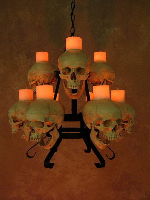 Two Tiered Skull / Metal Chandelier W/ Nine Skulls, Wax Candles