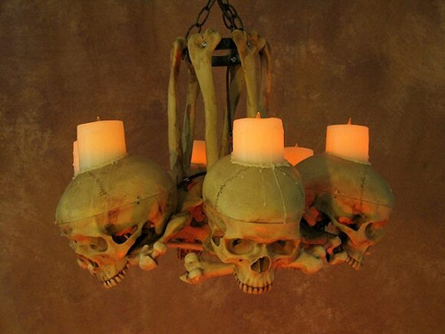 Life-Size Skull/Hip Bone Chandelier W/ Wax Candles