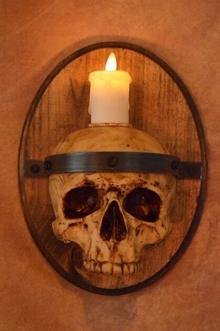 Skull Plaque Wood Sconce W/ Flameless Candle