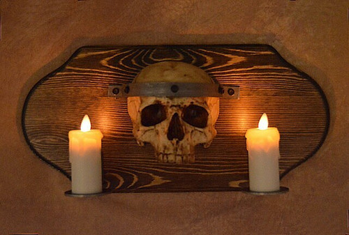Skull Plaque Wood Sconce W/ Two Flameless Candles