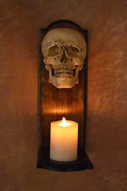 Classic Skull Wall Sconce W/ Ivory Flame-Less Candle