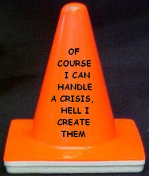 "Novelty 4"" Blaze Cone #027 Of Course I can Handle a Crisis, hell I create Them"