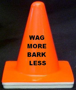 "Novelty 4"" Blaze Cone #696  Wag More Bark Less"