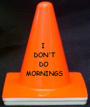 "Novelty 4"" Blaze Cone #042  I Don't do Mornings"