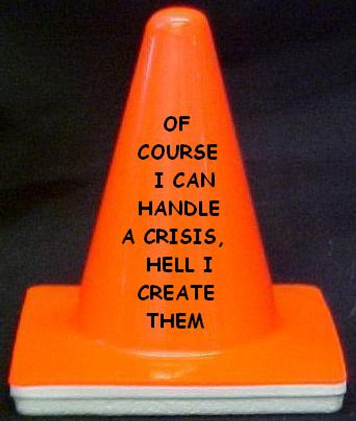 """Novelty 4"""" Blaze Cone #027 Of Course I can Handle a Crisis, hell I create Them"""