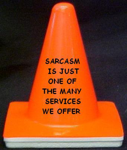 "Novelty 4"" Blaze Cone #052 SARCASM IS JUST ANOTHER ONE OF THE SERVICES WE OFFER"
