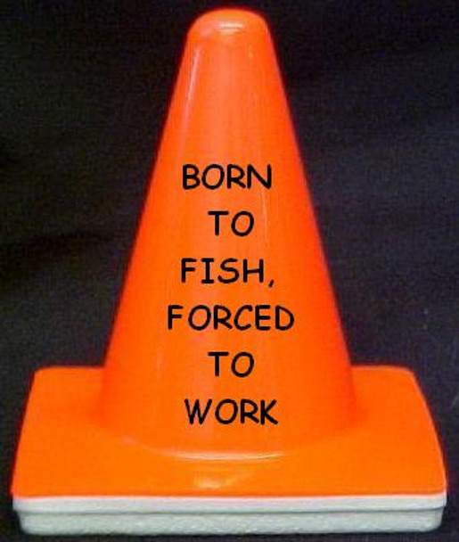 """Novelty 4"""" Blaze Cone #082  Born to Fish, Forced to Work"""