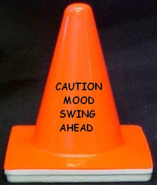 "Novelty 4"" Blaze Cone #189 Caution Mood Swing Ahead"