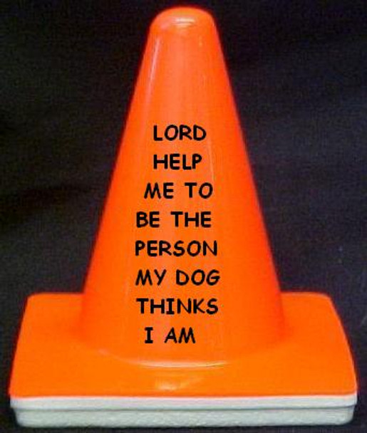 """Novelty 4"""" Blaze Cone #102 Lord Help me be the Person my Dog thinks I am"""