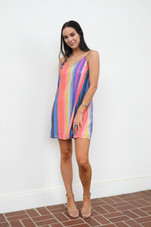 Rainbow Striped Sequin Party Dress
