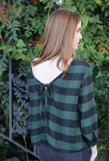 V-Back Tie Blouse - Holiday Pine