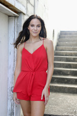 Forever Red Romper with Front Twist Detail