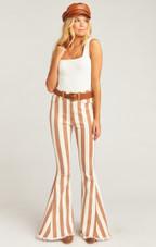 Berkeley Zip Up Bells - Cognac and Cream Stripe