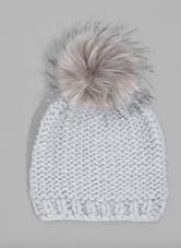 Silver Chunky Knit Beanie w/ Pom