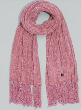 Chenille Muffler with Cables Rose Gold