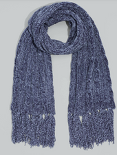 Chenille Muffler W Cables Charcoal