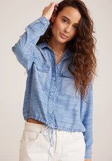Tie Waist Utility Shirt Jacket - Oceanside