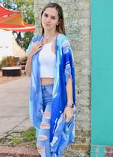 Painted Desert Stripe Kimono - Blue