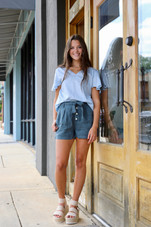 Storm Night Belted Button Front Short